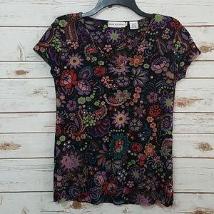 EUC🌻Dana Buchman Boho Floral Top